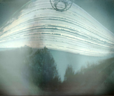 Six month long exposure of the suns path through the sky, called a solargraph